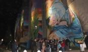 Mural más grande de Chile ya está  iluminado con alta tecnología.